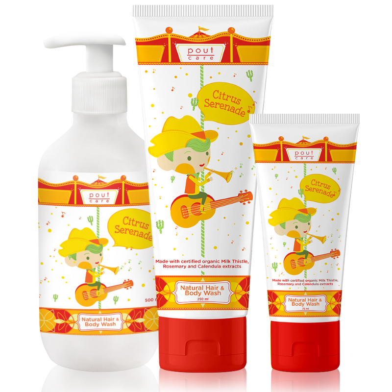 pout Care Citrus Serenade Hair Body Wash group shot